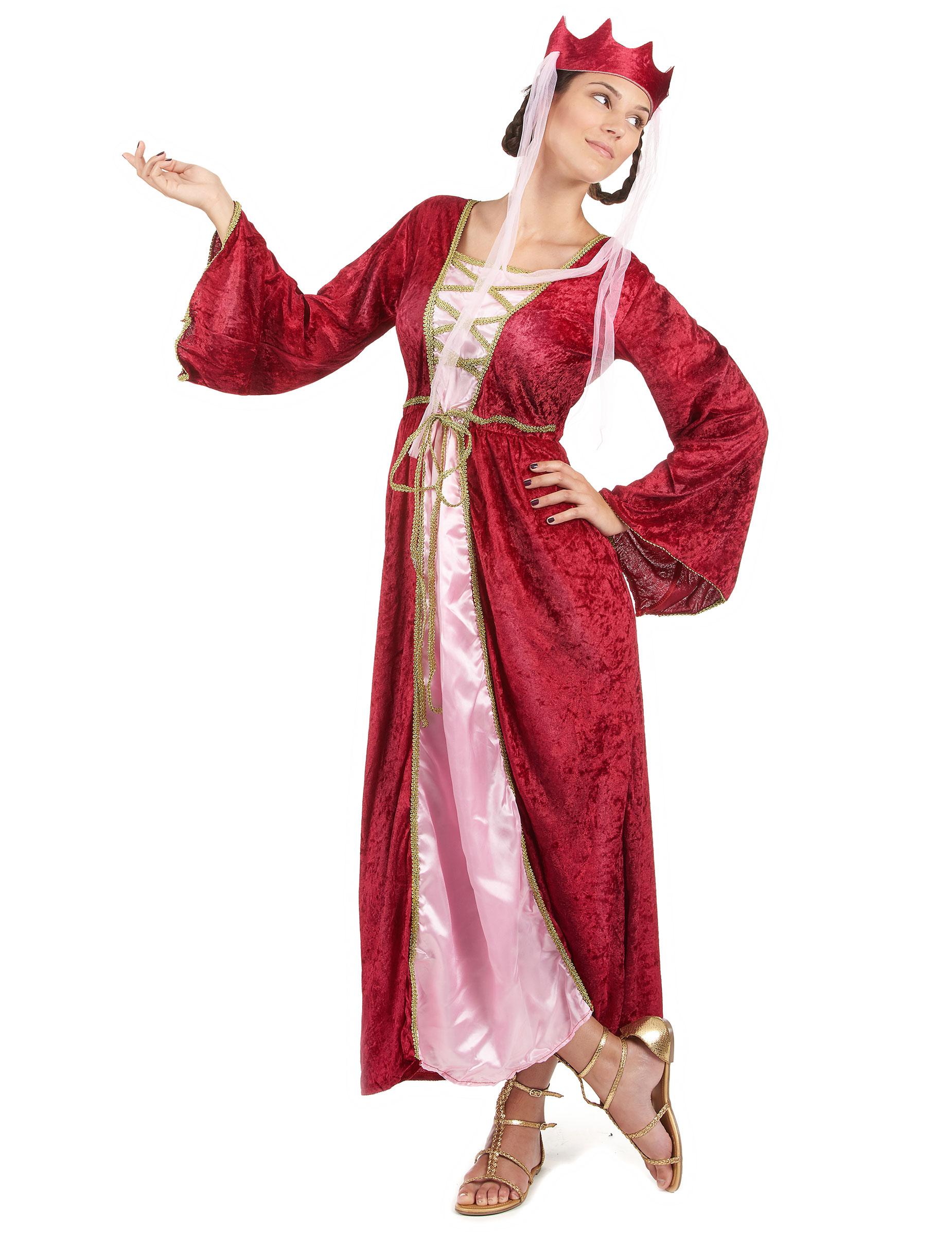 4ef82ab1fd1e Medeltida Drottning i rött och rosa - Maskeraddräkt för vuxna, köp ...