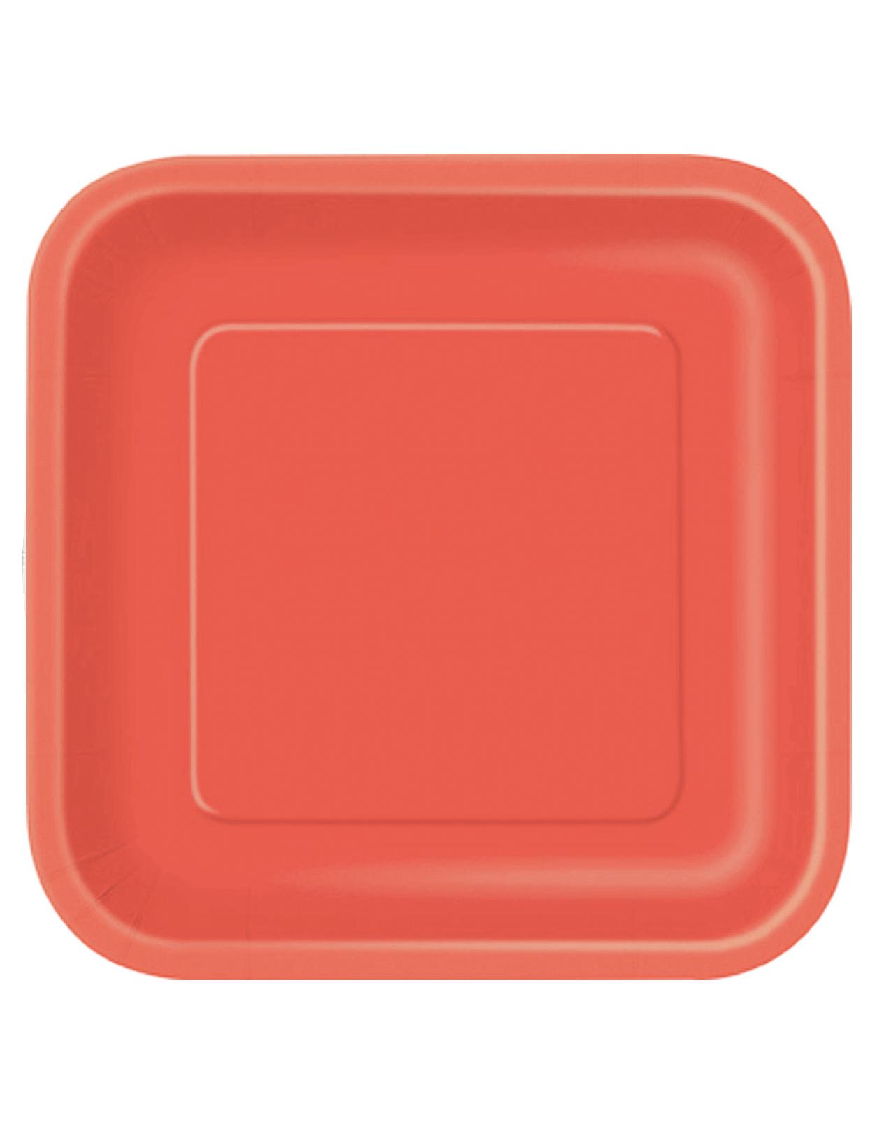 14 stora röda kvadratiska tallrikar i kartong, köp Dekorationer på Vegaoo se