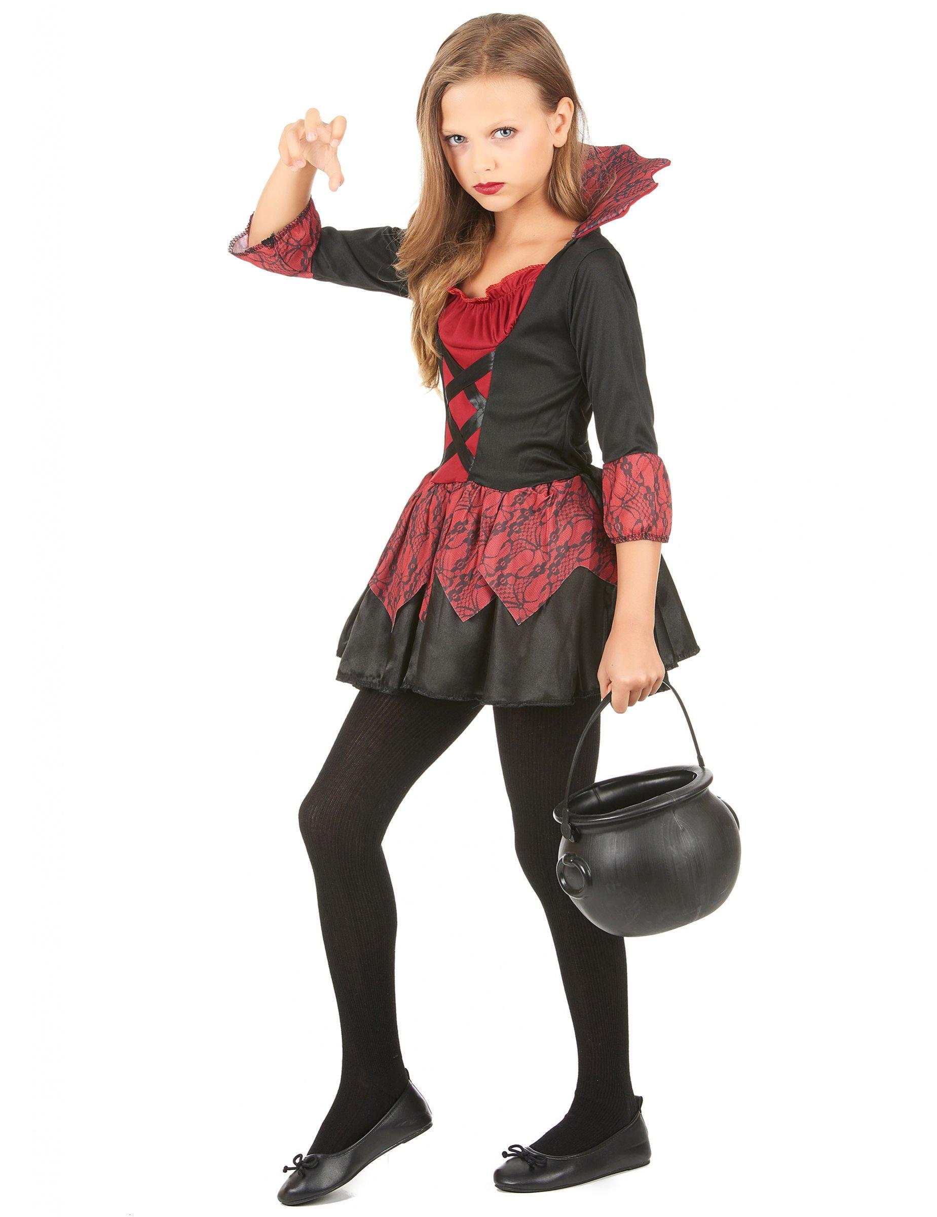 Vampyrklänning med snörning och fin kjol - Halloweenkostym för barn ... 2490d6fa65738