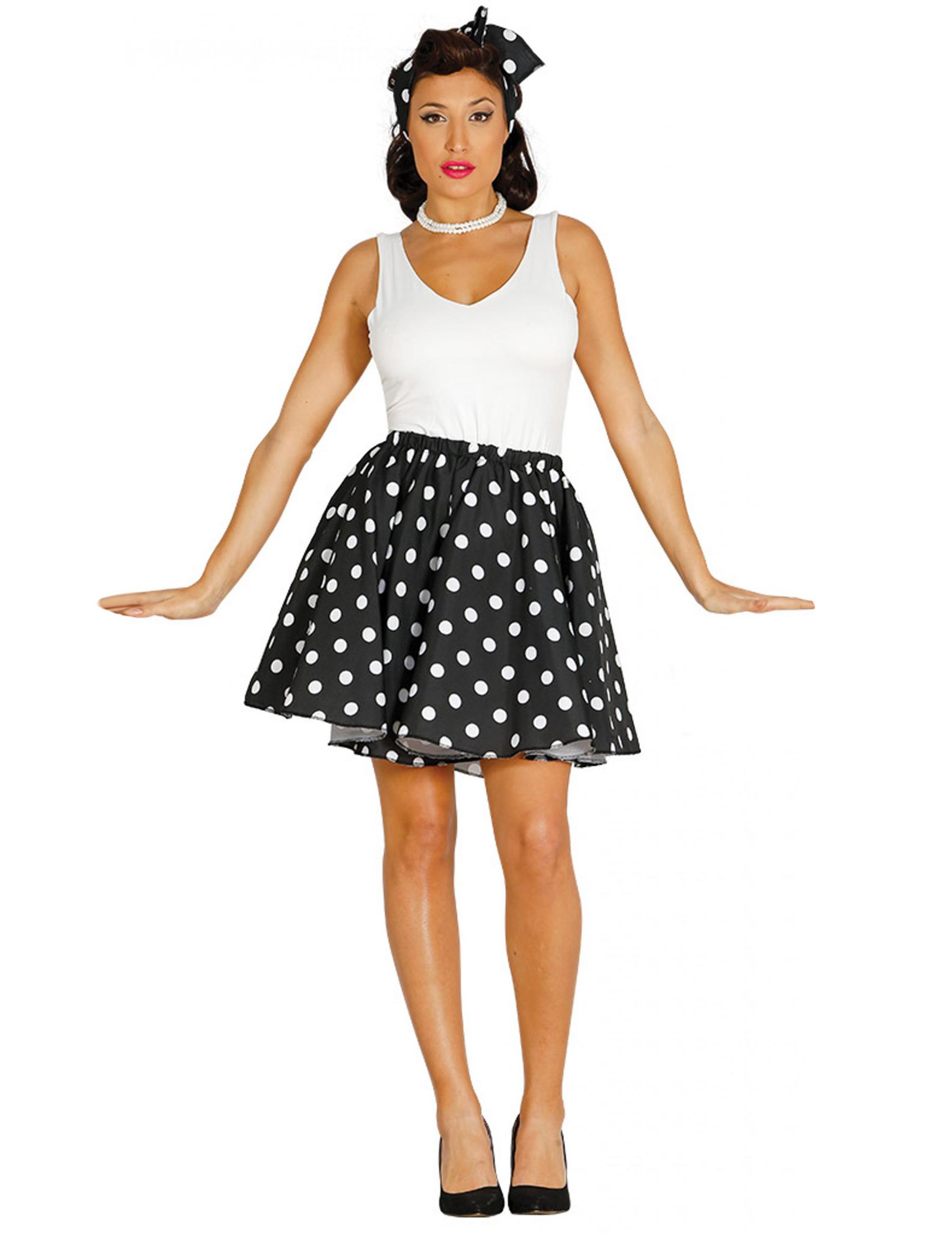 sale retailer 13e42 13b6c Svart kjol och scarf med prickar i 50-talsstil dam