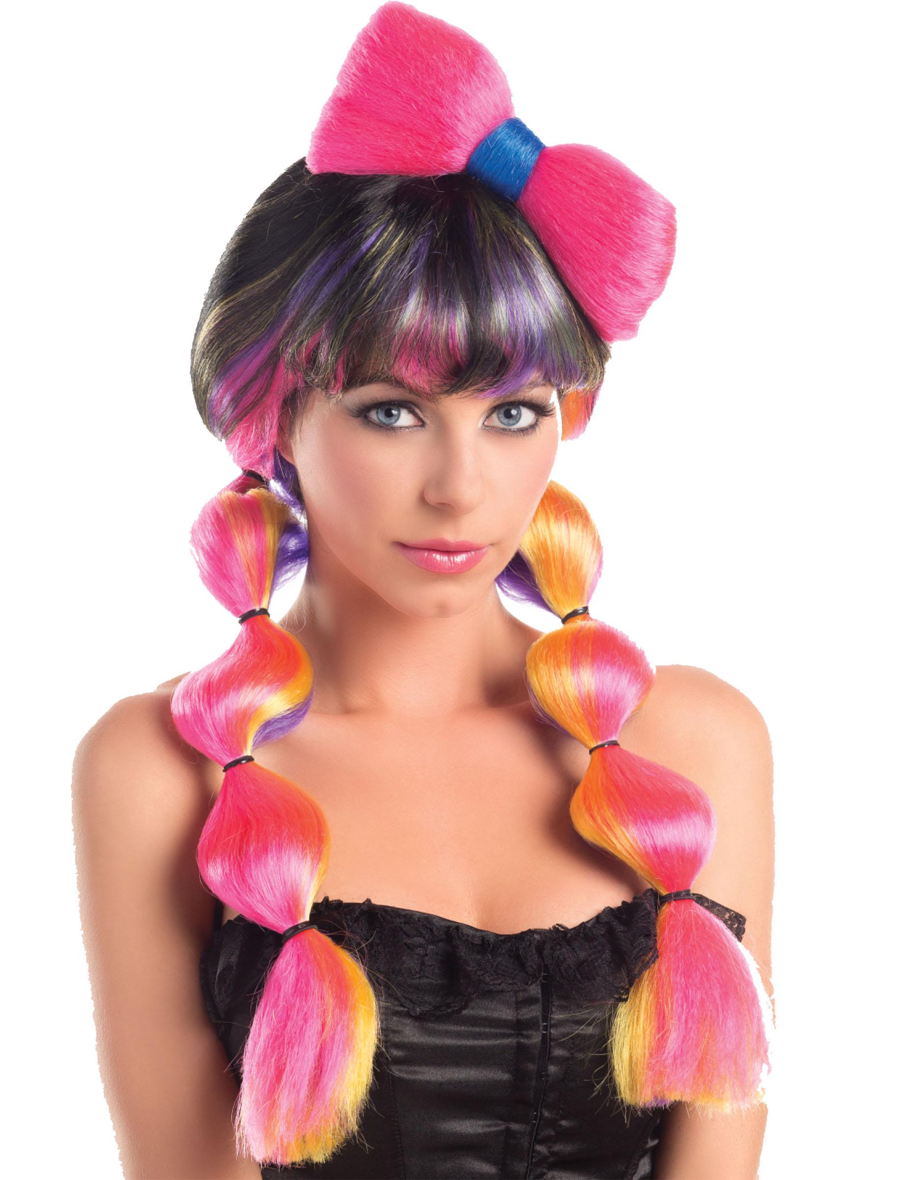 151087bd5e51 Mångfärgad peruk med flätor och rosett- 258 g, köp Peruker på Vegaoo.se