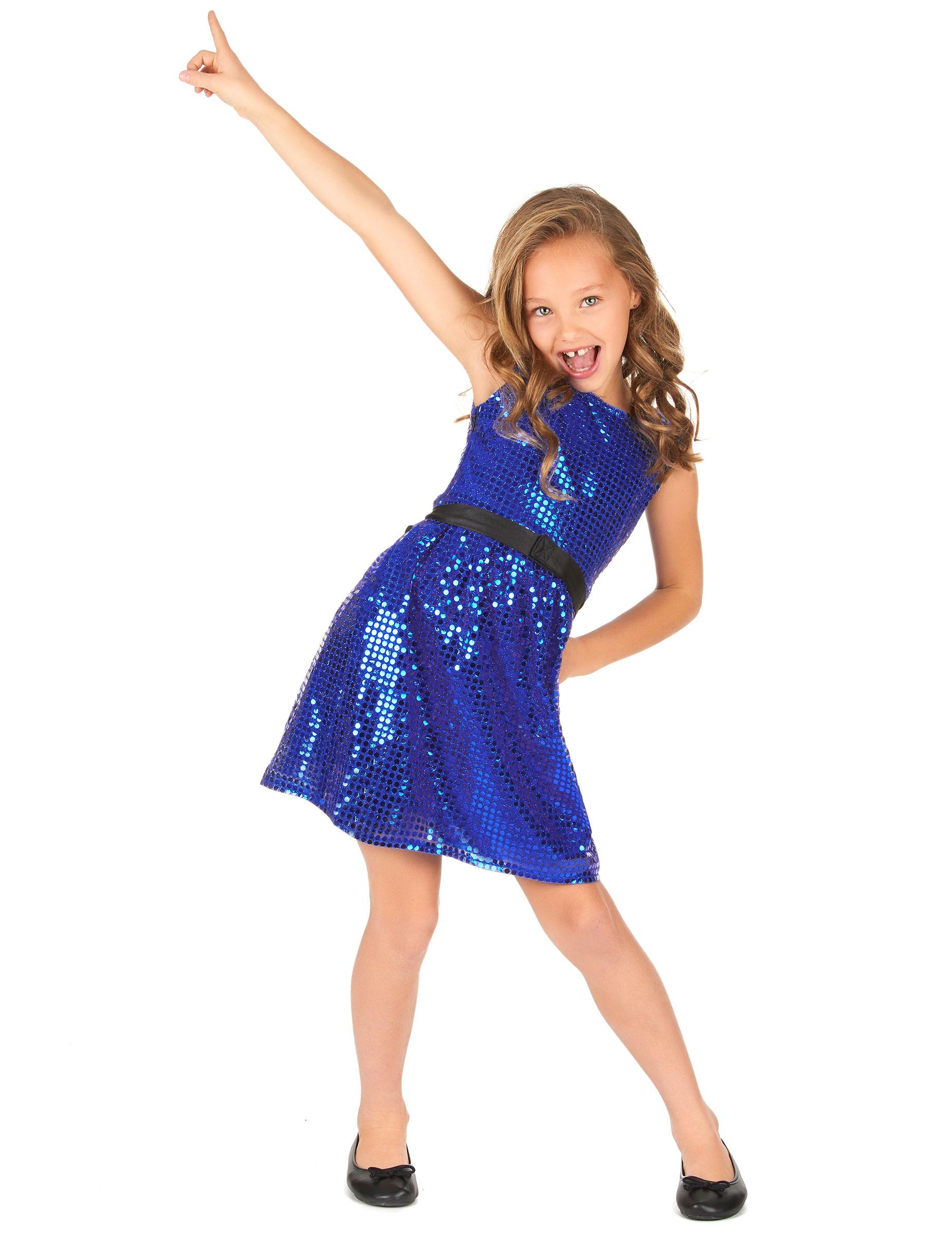 Blå discoklänning med rosett - Maskeraddräkt för Barn ced5c6d8edf72