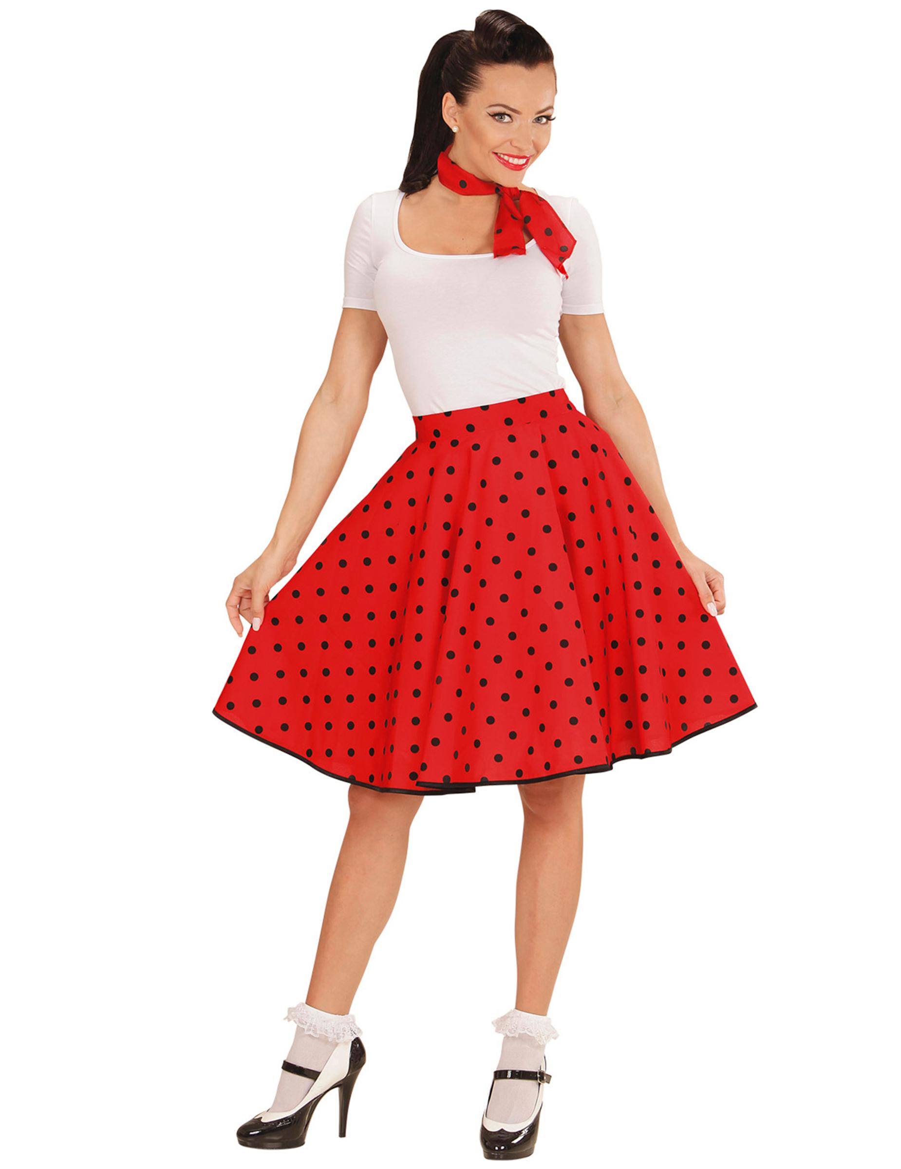 low priced 671b9 8926d Röd prickig 50-tals kjol och scarf vuxen