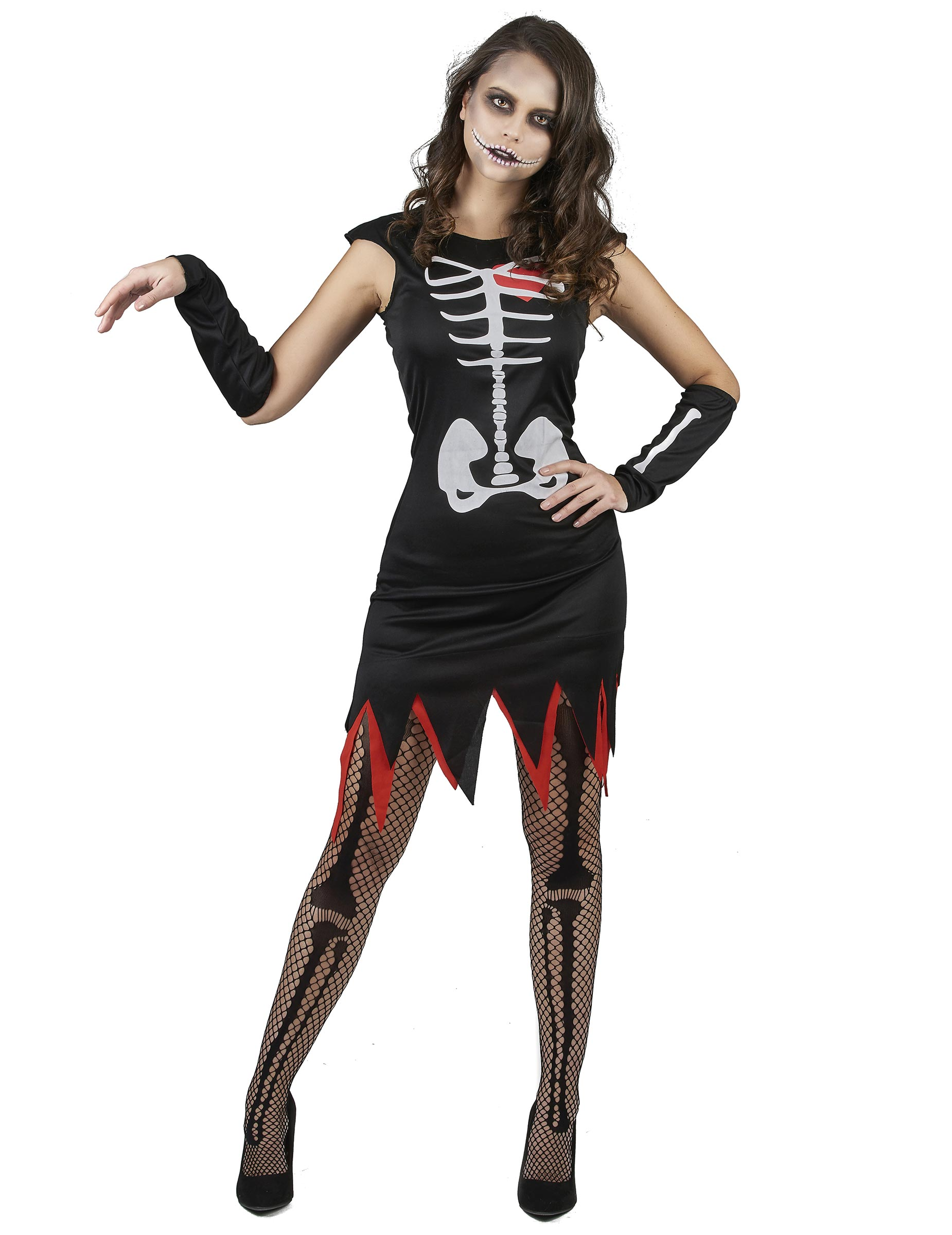 7027b7f9487a Kostym för levande skelett med hjärta dam, köp Maskeradkläder för ...
