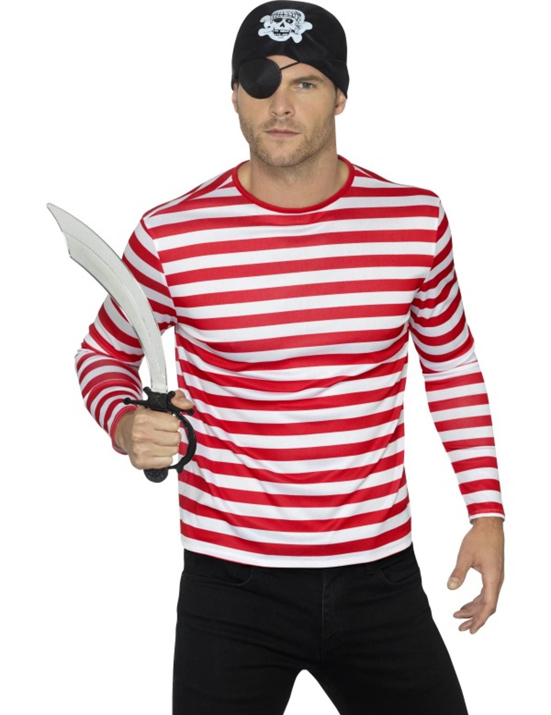 Randig långärmad tröja i rött för vuxna