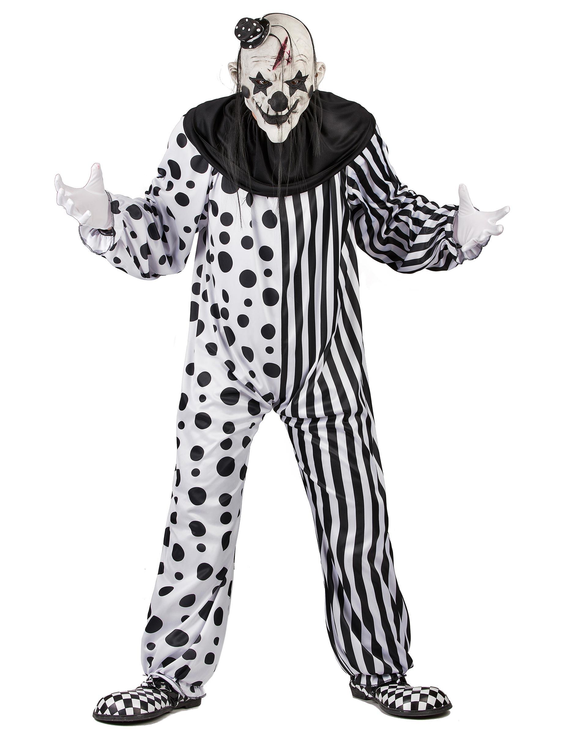 Svart och vit skräckclown - Kostym för vuxna till Halloween cbadfb01c4723