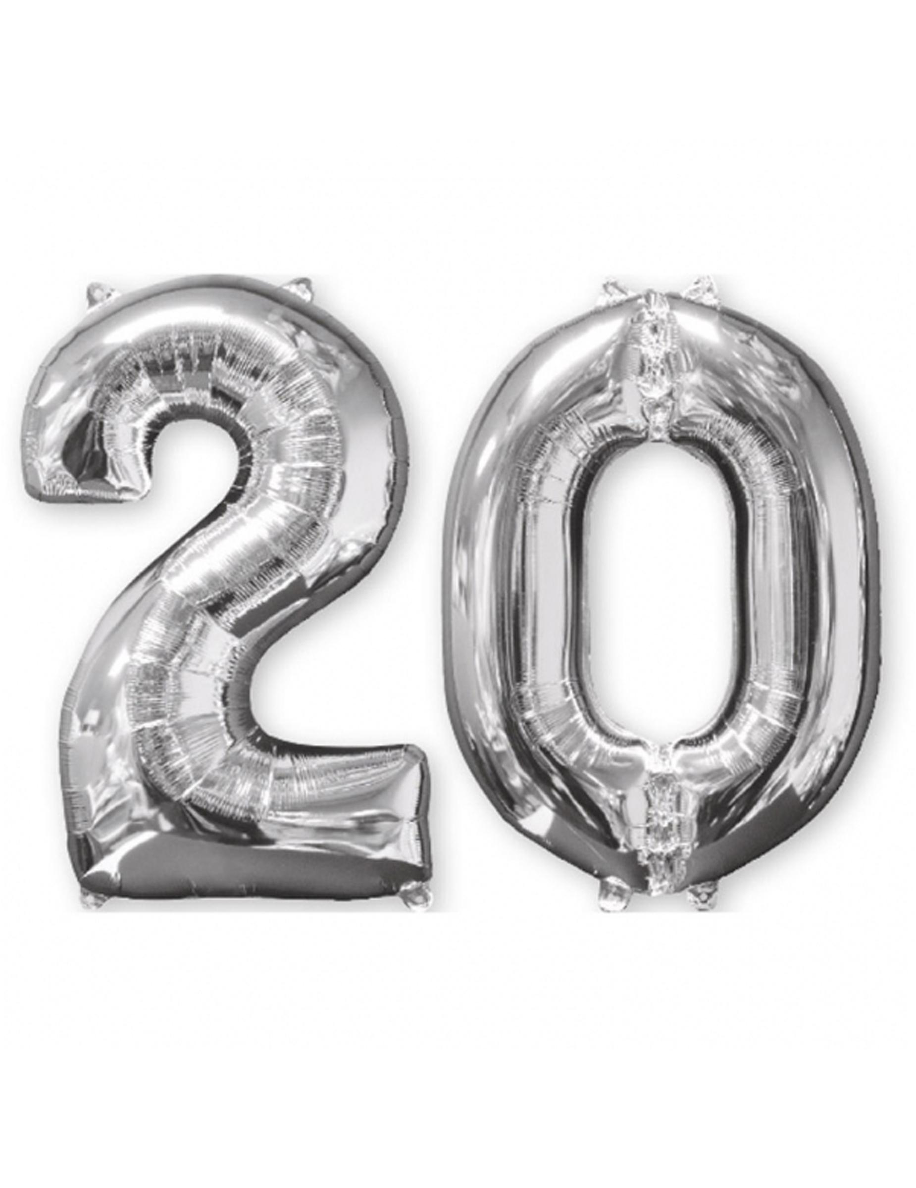 20 års ballonger 2 ballonger som utgör siffran 20   66 cm, köp Dekorationer på  20 års ballonger