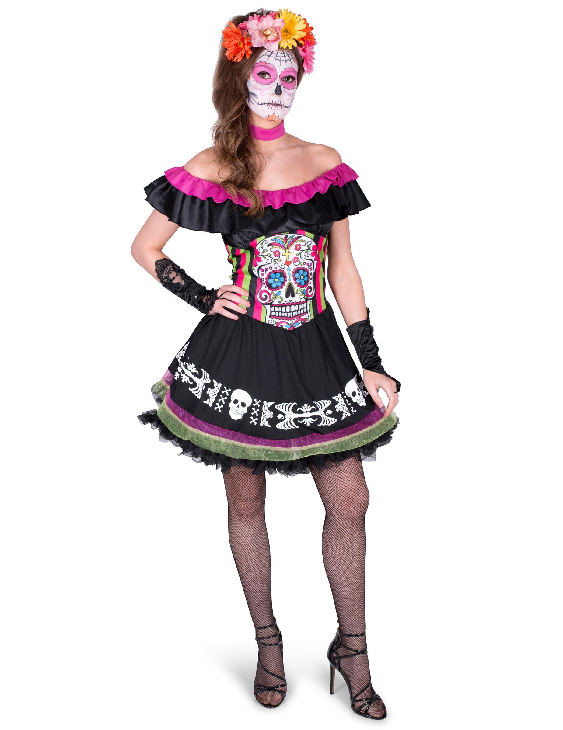 dcea86e3c980 Färggrann Dia de los Muertos-klänning för vuxna, köp Maskeradkläder ...