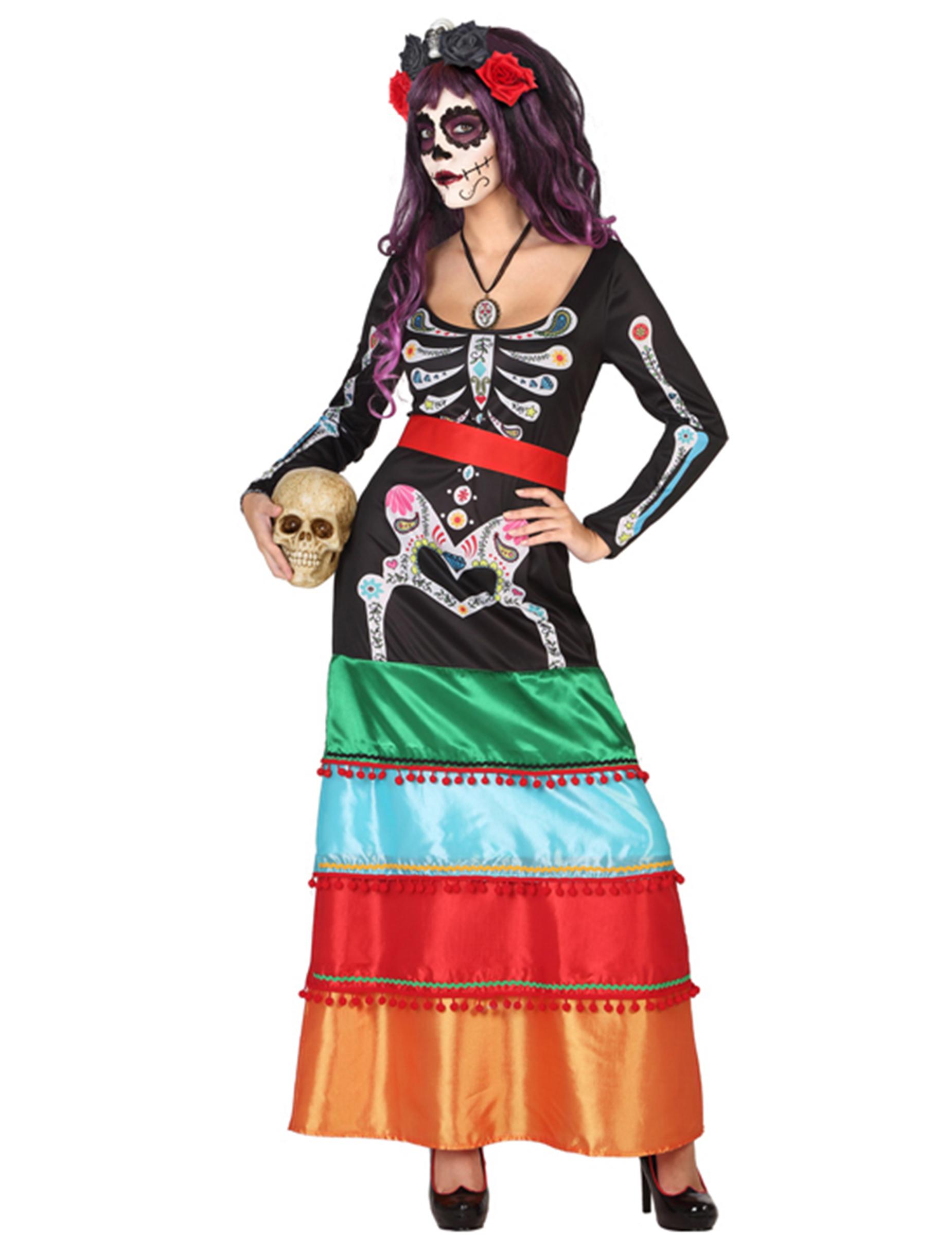 Färgrik Dia de los Muertos-klänning till Halloween d375fa9c4d49d