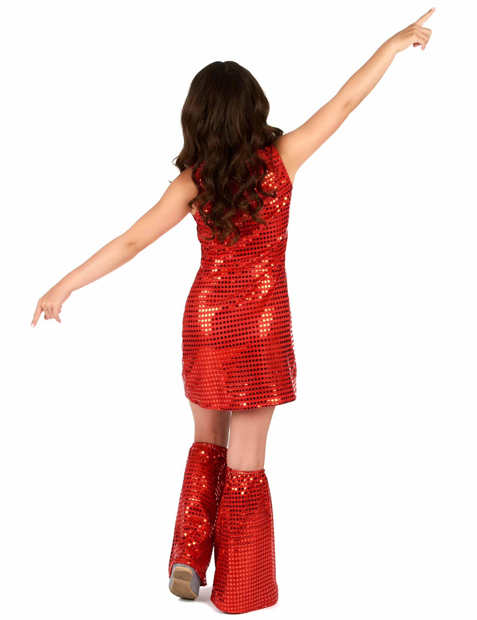 a77e8d535278 Röd discoklänning med benvärmare, köp Maskeradkläder för barn på ...