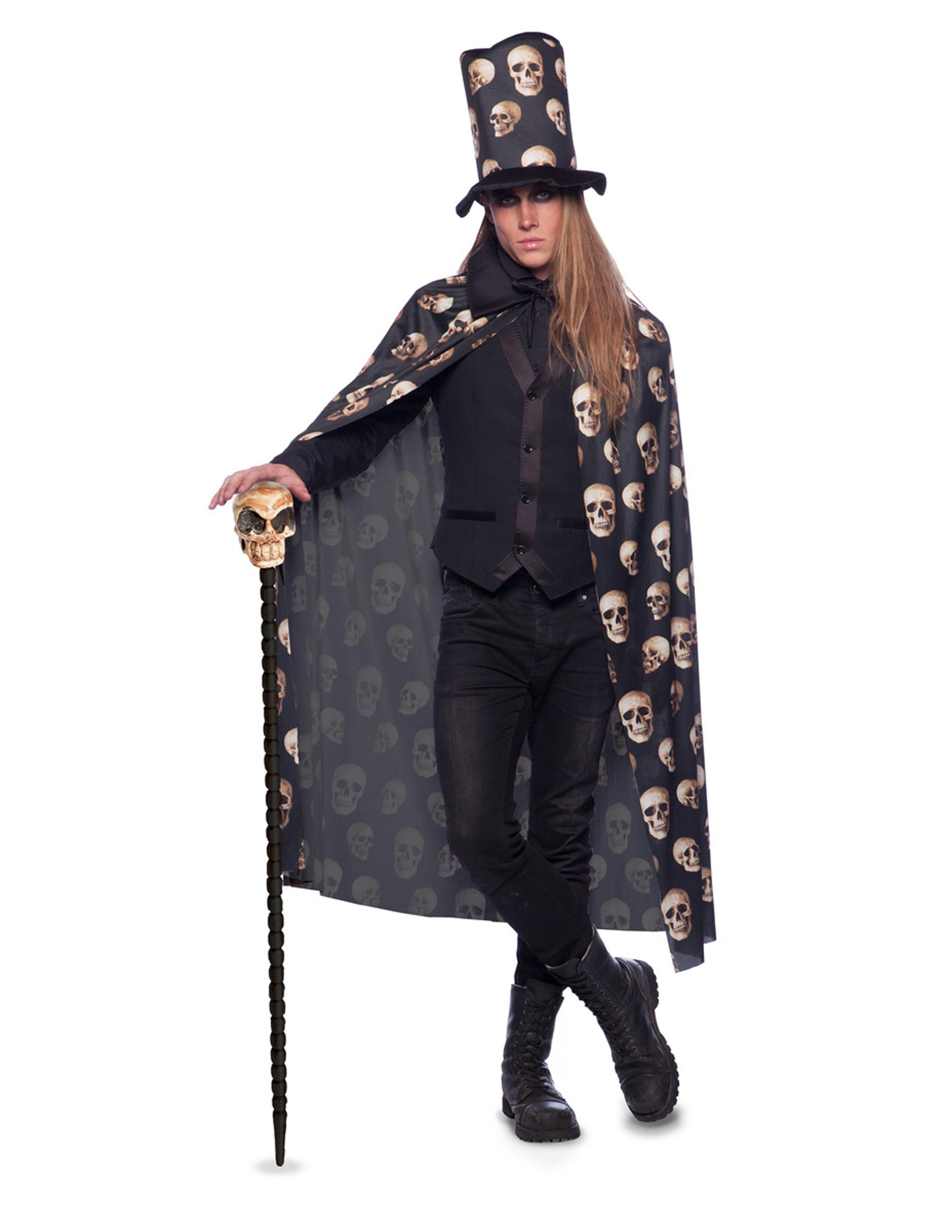 Mantel   cylinderhatt med dödskallar för vuxna till Halloween ed02efea36466