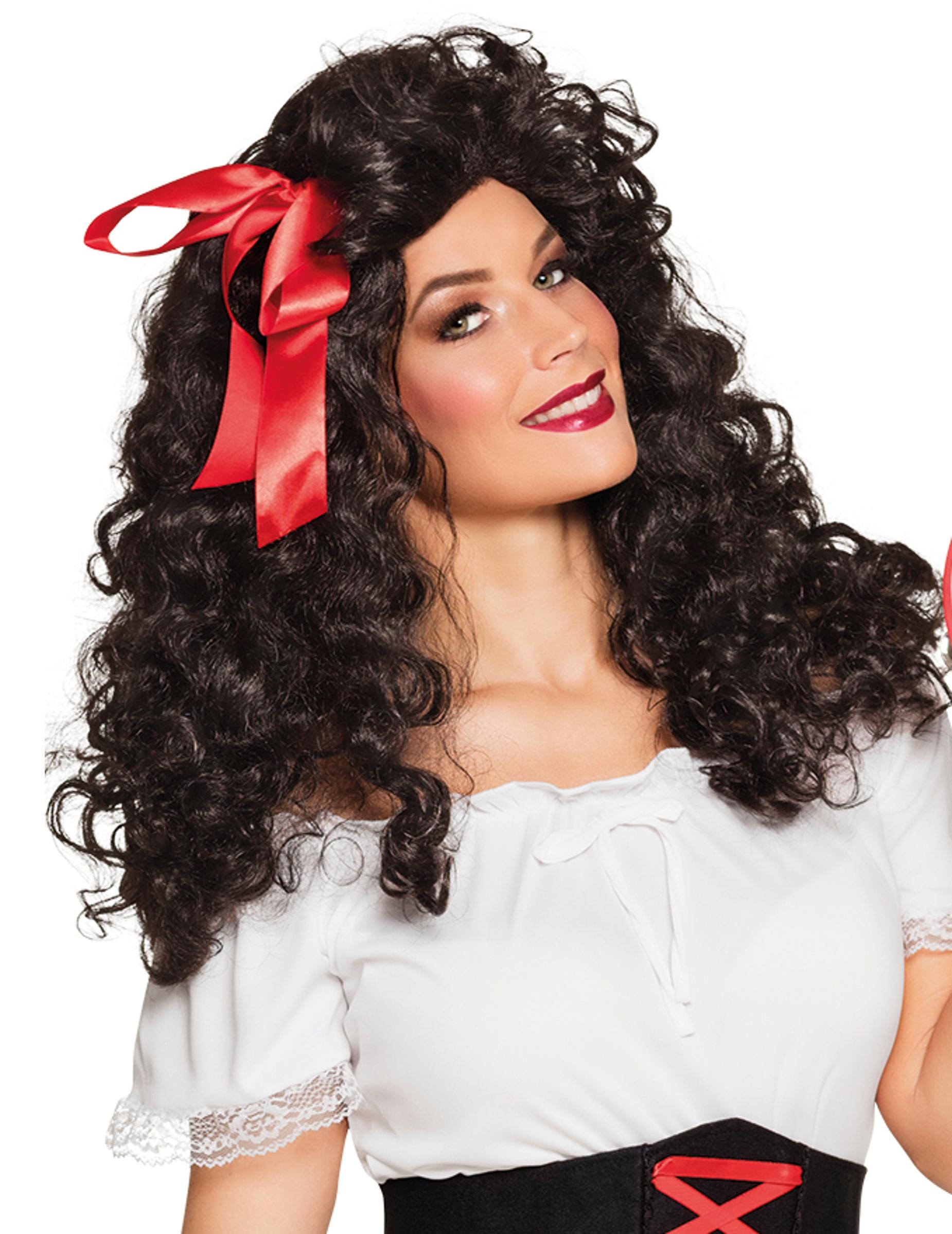 d60c547f6798 Brunt burrigt hår med rosett - Peruk för vuxna, köp Peruker på Vegaoo.se