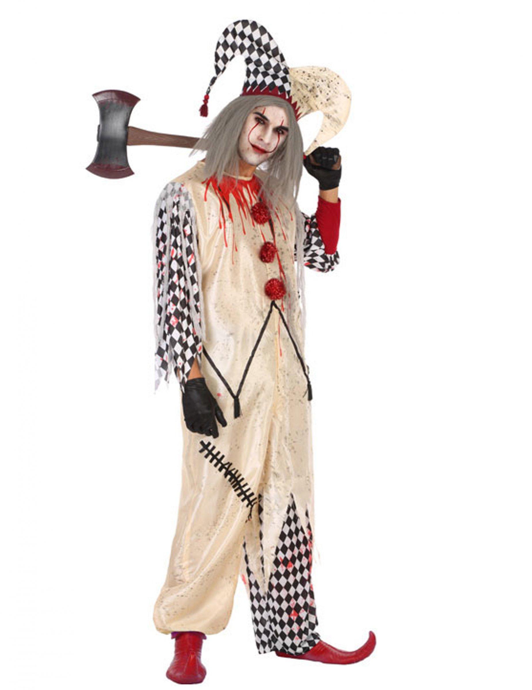 Blodig harlekin maskeraddräkt för män - Halloween maskeraddräkt 3713a0b951943