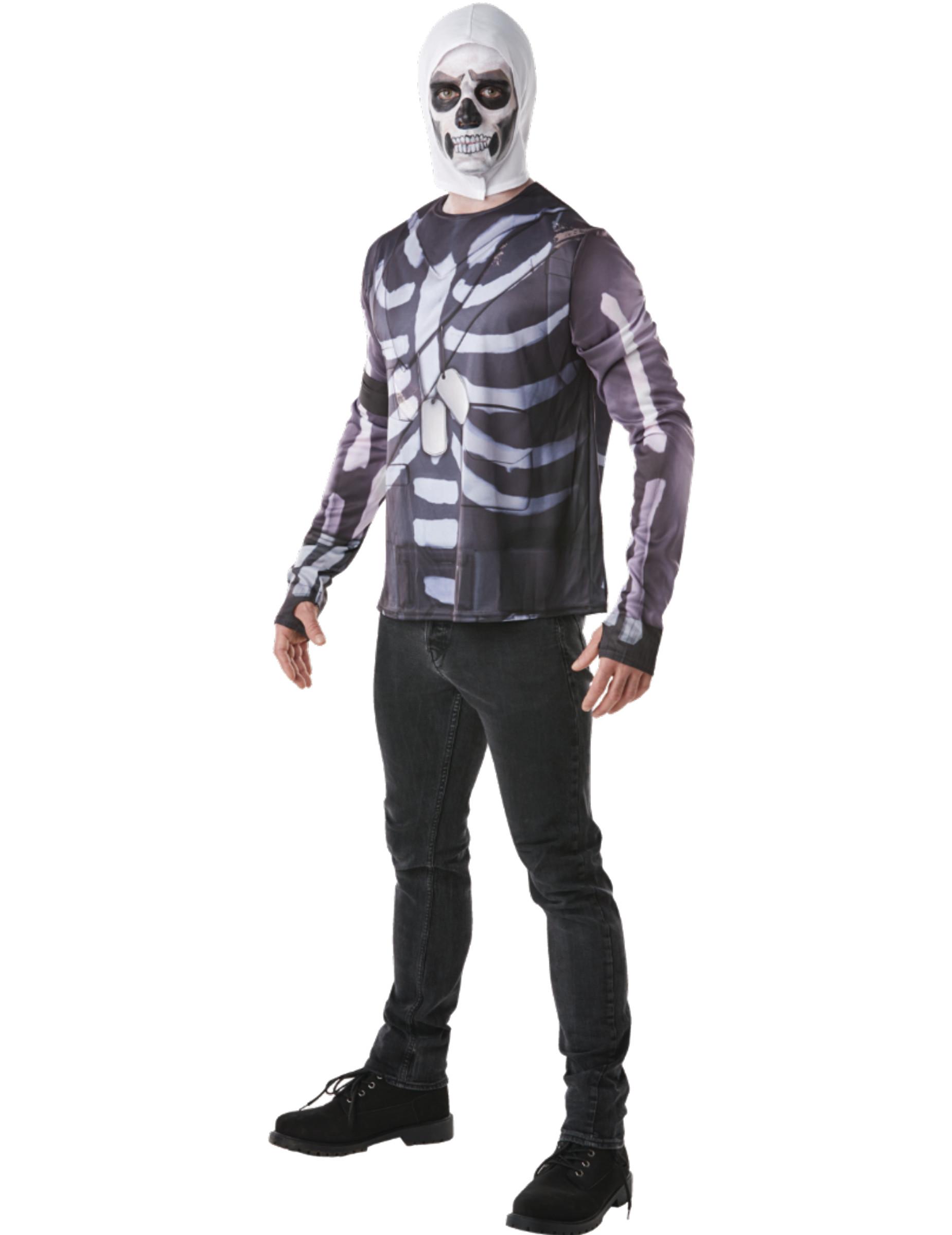 Skull Trooper Fortnite™ T-shirt och huva för vuxna - Maskeradkläder ... a5f9e8060094a