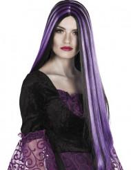 Lång svart och lila peruk Halloween