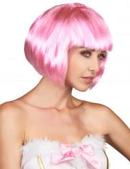 Lady Rosa - Kort tjusig peruk i rosa för vuxna