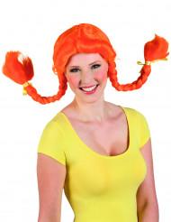 Orange peruk med pippilottor