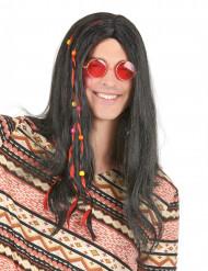 Svart hippieperuk vuxna