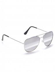 Svarta pilotglasögon med silverfärgade bågar