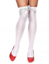 Vita strumpor med vit rosett för vuxna