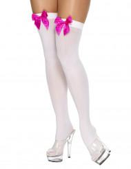 Vita strumpor med rosa rosetter