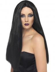 Lång svart peruk dam