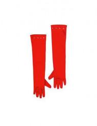Röda långa barnhandskar