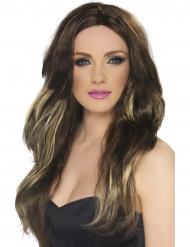 Lång brun peruk med blonda slingor