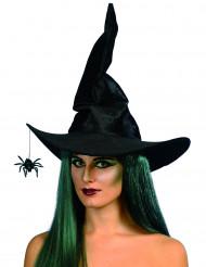 Svart häxhatt med spindel för vuxna till Halloween