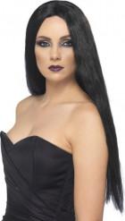 Lång svart peruk