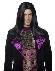Attraktiv främling - Peruk med rakt svart hår till Halloween