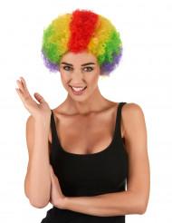 Färgglad Clownperuk Vuxen