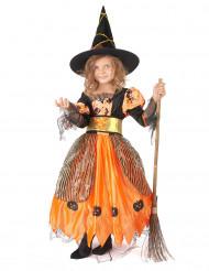Orange häxdräkt till Halloween för barn