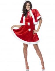 Sexig tomteklänning med cape - juldräkt för vuxna