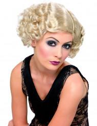 Peruk kabaret vågig blond dam
