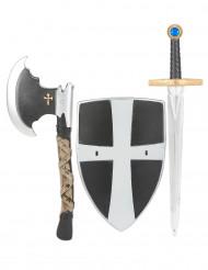 Sköld svärd och yxa i plast medeltidsriddare barn