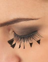 Korta svarta lösögonfransar med svarta fjädrar