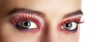 Röda och silvriga lösögonfransar