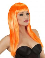 Lång orange peruk med lugg dam
