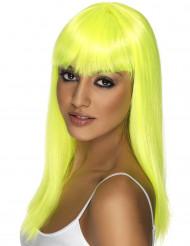 Lång neongul peruk med lugg