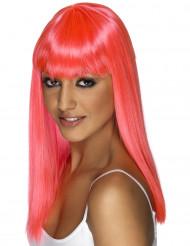 Rosa lång peruk med lugg