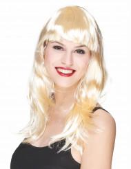 Lång blond peruk med lugg