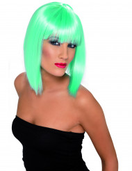 Medellång neon-turkos peruk