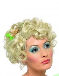 Blond kort lockig peruk