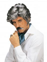Peruk och mustasch Casanova grå man