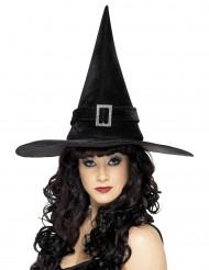 Svart häxhatt med silverspänne till Halloween