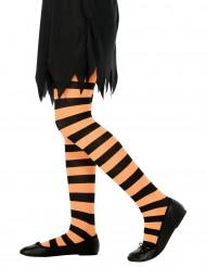 Randiga strumpbyxor orange och svarta Barn