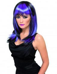 Peruk med långt svart och blålila hår