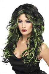Svart peruk med gröna slingor