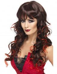Peruk med långt brunt hår och röda slingor.